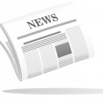 Vector cartoon illustration of a folded newspaper with the header News in grey and white with a shadow below